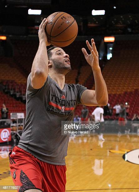 Raptors guard Greivis Vasquez practices before Toronto's game against the Miami Heat at the AmericanAirlines Arena in Miami on Monday March 31 2014