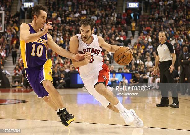 Raptors guard Jose Calderon and Los Angeles Lakers guard Steve Nash in Toronto Rene Johnston/ Toronto Star