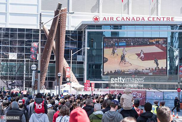 ACC TORONTO ONTARIO CANADA NBA Raptors play off game 1 fans gathered outside the Air Canada Centre to watch in big screen