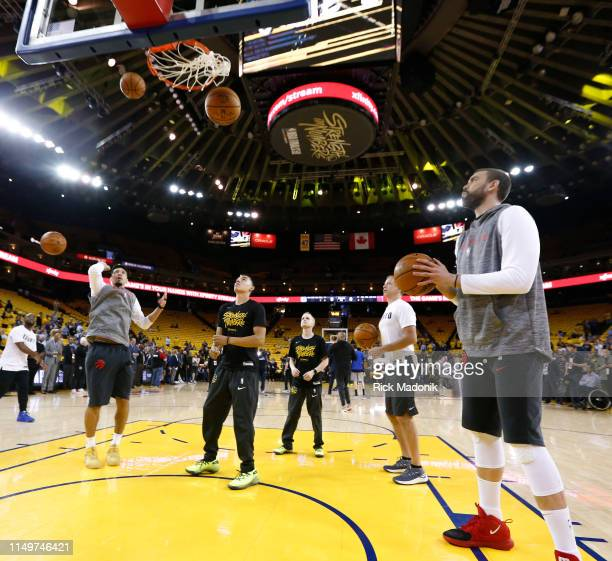 Raptors players Toronto Raptors guard Danny Green and Toronto Raptors center Marc Gasol during shoot around Toronto Raptors vs Golden State Warriors...