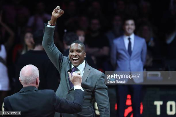 Raptors president Masai Ujiri with his ring as the Toronto Raptors open the season against the New Orleans Pelicans at Scotiabank Arena in Toronto....