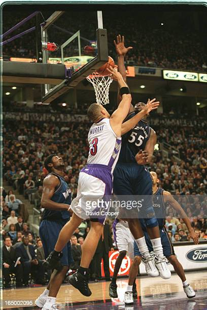 Toronto Raptors play the Washington Wizzard at the Air Canada Centre Friday nightTracy Murray @#3 is rejected by Jahidi White @#55 during the first...