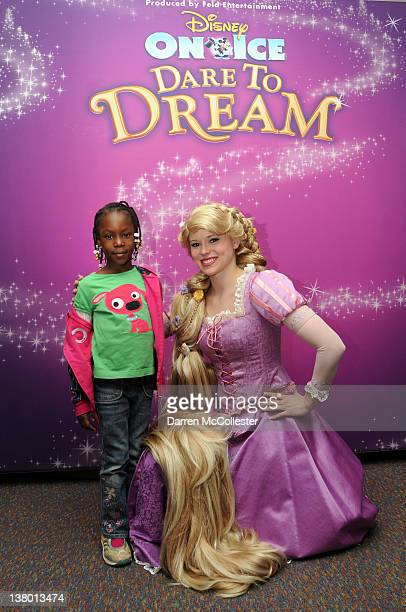 Rapunzel visits Amany as Disney on Ice Skates into Children's Hospital Boston at Children's Hospital Boston on January 31 2012 in Boston Massachusetts