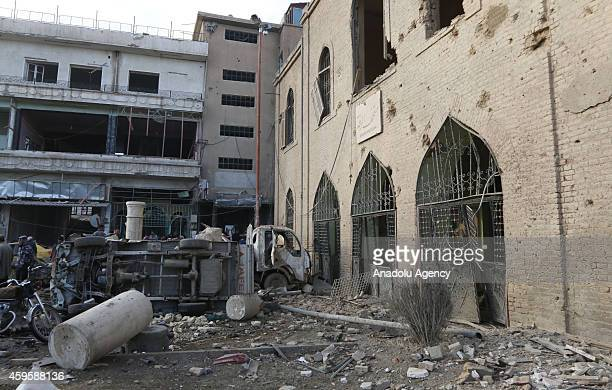 Raqqa Museum is destroyed in air strikes by Syrian army warplanes on the ISILheld northern city of Raqqa Syria on November 25 2014 At least 130...