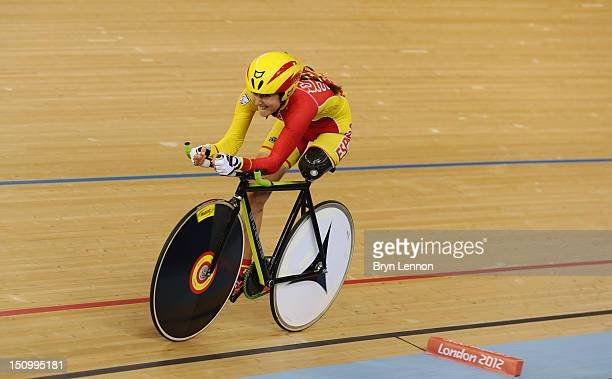 Raquel Acinas Poncelas of Spain competes in the Women's Individual C123 Pursuit Cycling Qualifying on day 1 of the London 2012 Paralympic Games at...