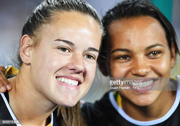 Raquel and Andressinha of Brazil looks on during the Olympic Women's Football match between Brazil and Sweden at Olympic Stadium on August 6 2016 in...