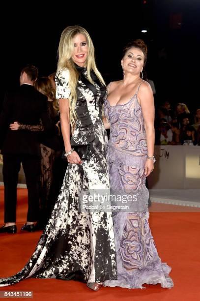 Raquel Bernal and Darina Pavlova walks the red carpet ahead of the 'Loving Pablo' screening during the 74th Venice Film Festival at Sala Grande on...