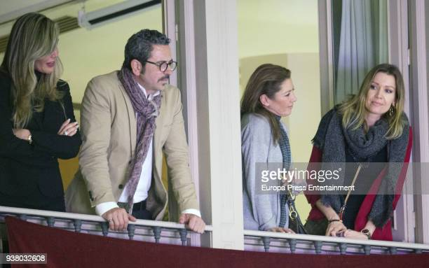Raquel Bernal and Nicole Kimpel take part in the 'Lagrimas y Favores' brotherhood Palm Sunday procession in Malaga at the start of the Holy Week on...