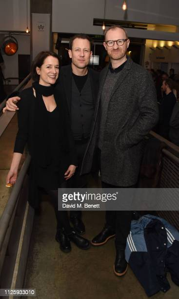 "Raquel Cassidy, Tobias Menzies and Mark Gatiss attend the press night after party for ""Shipwreck"" at The Almeida Theatre on February 19, 2019 in..."