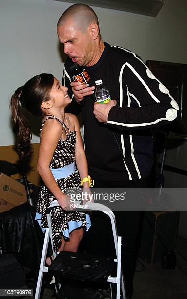 Raquel Castro and Jim Carrey during Nickelodeon's 17th Annual Kids' Choice Awards Backstage at Pauley Pavillion in Westwood California United States