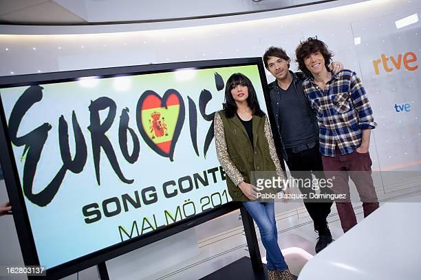 Raquel del Rosario David Feito and Juan Luis Suarez of the band El Sueno de Morfeopresent Spain's Eurovision song entry 'Contigo hasta el final' at...