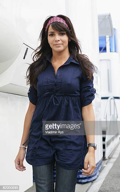 Raquel del Rosario, wife of Renault driver Fernando Alonso of Spain, is seen in the paddock following qualifying for the German Grand Prix at...