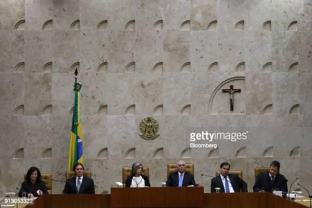 Raquel Dodge Brazil's general prosecutor from left Eunicio Oliveira president of Brazil's senate Carmen Lucia chief justice of the Federal Supreme...