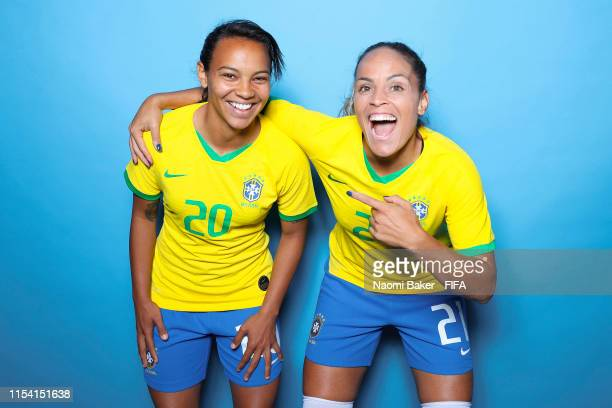 Raquel Fernandes and Monica of Brazil pose for a portrait during the official FIFA Women's World Cup 2019 portrait session at Grand Hotel Uriage on...