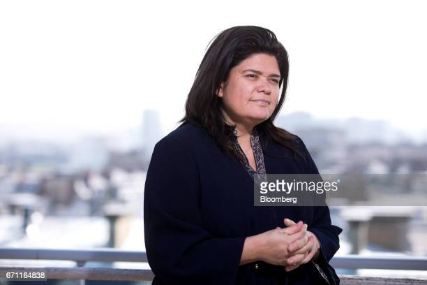 Raquel Garrido spokeswoman for France's presidential candidate JeanLuc Melenchon pauses during a Bloomberg Television interview in Paris France on...