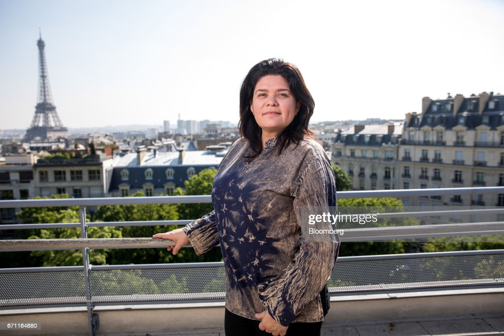 Raquel Garrido, spokeswoman for France's presidential candidate Jean-Luc Melenchon, poses for a photograph following a Bloomberg Television interview in Paris, France, on Friday, April 21, 2017. The murder of a policeman on the Champs-Elysees has forced an early end to campaigning for the leading candidates in France's presidential election as they head into Sundays first-round of voting with the race wide open. Photographer: Christophe Morin/Bloomberg via Getty Images