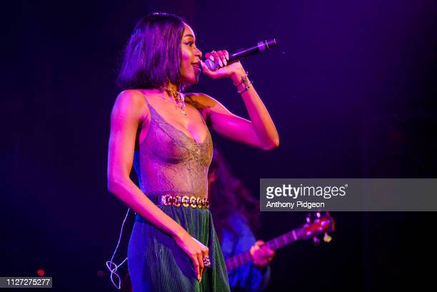 Raquel Jones of Thievery Corporation performs on stage at Roseland in Portland Oregon USA on 29th December 2018
