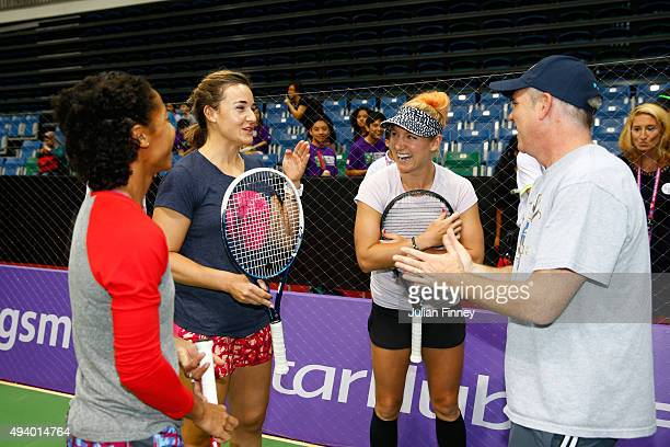 Raquel KopsJones Abigail Spears Bethanie MattekSands and US Ambassador to Singapore Kirk Wagar attend the Sport Cares clinic at OCBC Arena on October...