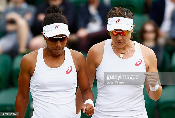 Raquel KopsJones of the United States and Abigail Spears of the United States in action in the Ladies' Doubles Quarter Final match against Bethanie...