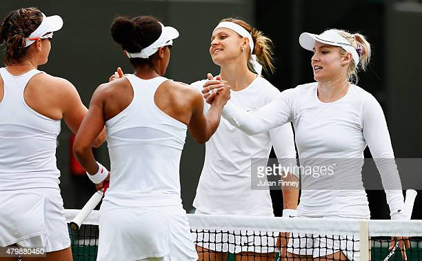 Raquel KopsJones of the United States and Abigail Spears of the United States celebrate winning the Ladies' Doubles Quarter Final match against...