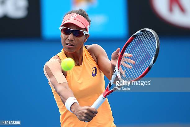 Raquel KopsJones of the United States in action in their first round mixed doubles match with Scott Lipsky of the United States Andrea Hlavackova of...