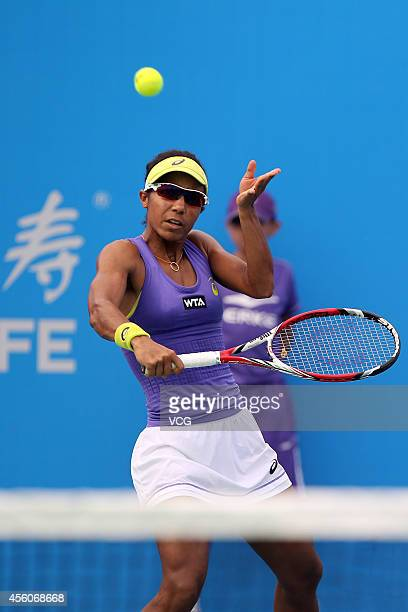 Raquel KopsJones of USA and Abigail Spears of USA compete with Alla Kudryavtseva of Russia and Anastasia Rodionova of Australia during day five of...