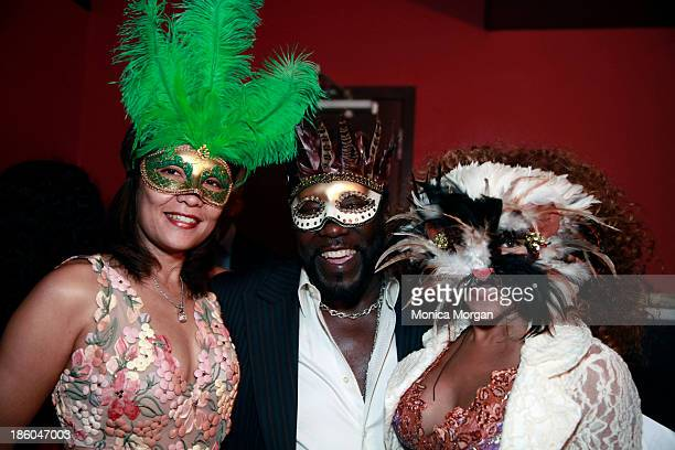 Raquel Levert Eddie Levert and Donna Richardson Joyner attend the O'Jays 8th Annual Celebrity Scholarship Weekend Masquerade Ball at TW Theater on...