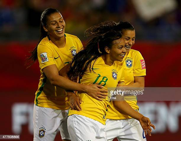 Raquel of Brazil celebrates her goal with teamamtes Beatriz and Erika in the second half against Costa Rica during the FIFA Women's World Cup 2015...
