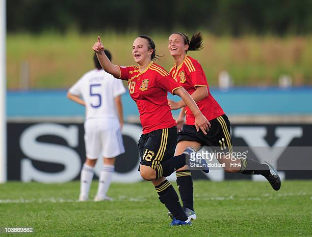 Raquel Pinel of Spain celebrates after scoring during the FIFA U17 Women's World Cup Group C match between Spain and Japan at the Ato Boldon Stadium...