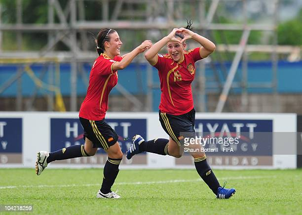 Raquel Pinel of Spain celebrates with teammate Gema Gili after scoring during the FIFA U17 Women's World Cup Quarter Final match between Spain and...