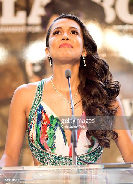 Raquel Pomplun speaks onstage during Playboy's 2013 Playmate Of The Year luncheon honoring Raquel Pomplun on May 9 2013 in Holmby Hills California