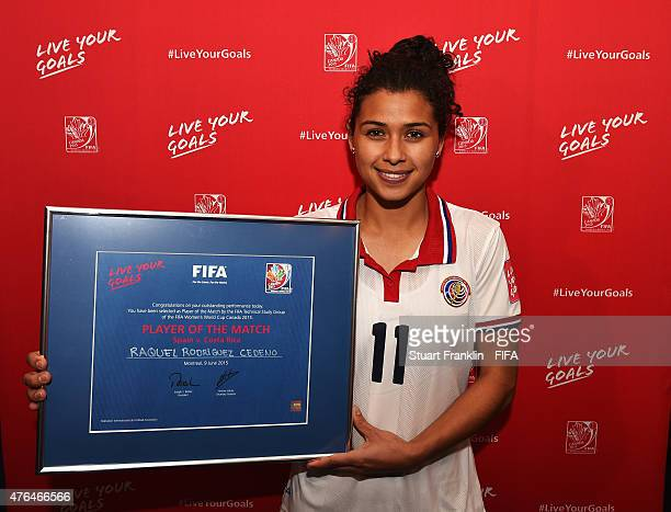 Raquel Rodriguez Cedeno of Costa Rica with her player of the match award after the FIFA Women's World Cup 2015 group E match between Spain and Costa...
