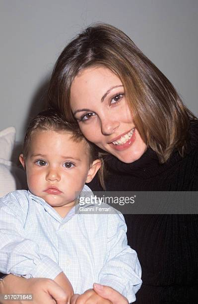 Raquel Rodriguez Miss Spain 1994 with her son Madrid Spain