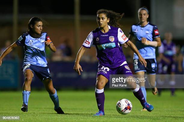 Raquel Rodriguez of the Perth Glory controls the ball during the round 11 WLeague match between the Perth Glory and Sydney FC at Dorrien Gardens on...
