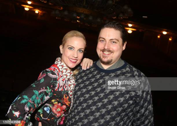 Raquel Suarez Groen and Carlton Moe pose at the 32nd Anniversary Performance and Party for The Phantom of The Opera on Broadway at The Majestic...