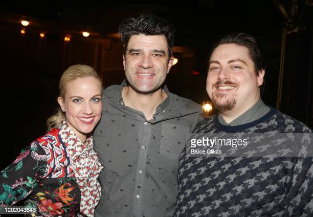 Raquel Suarez Groen Ben Crawford and Carlton Moe pose at the 32nd Anniversary Performance and Party for The Phantom of The Opera on Broadway at The...
