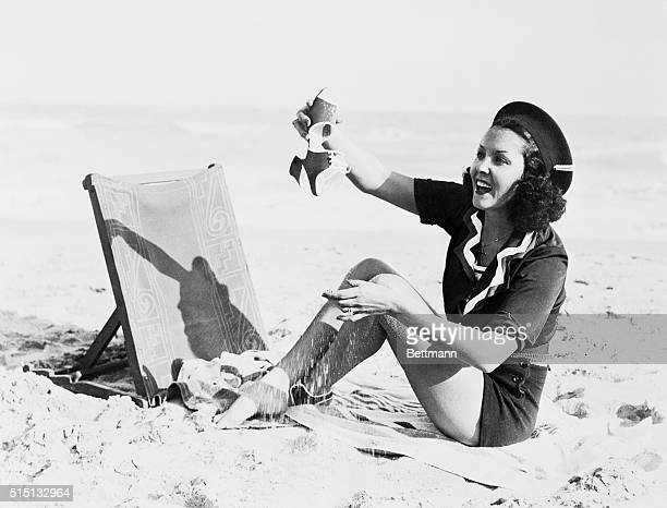 Raquel Torres exotic motion picture actress restores some of the beach at the Roney Plaza Cabana Club