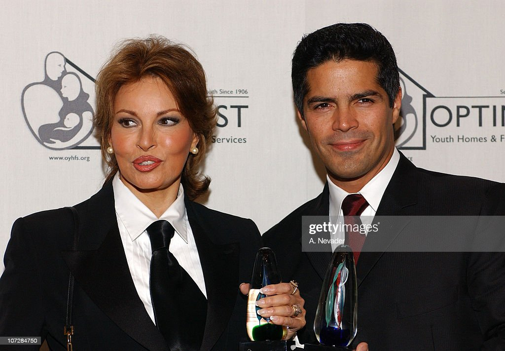 Raquel Welch and Esai Morales during 6th Annual Mentor Awards Gala in Honor of Raquel Welch, Esai Morales and L. A. City Attorney Rocky Delgadillo at Beverly Hilton Hotel in Beverly Hills, California, United States.