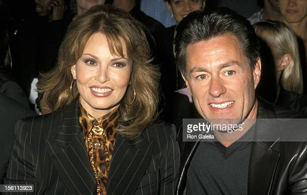 Raquel Welch and Richard Palmer during Escada Spring 2001 Fashion Show at Pier 2 in New York City New York United States