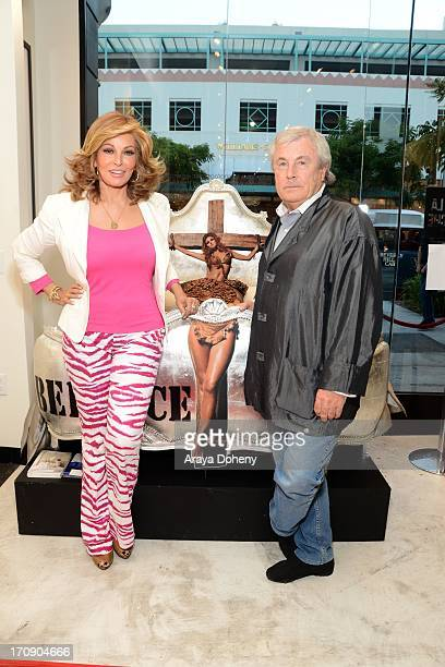 Raquel Welch and Terry O'Neill attend a gallery exhibit of Terry O'Neill Presents The Opus A 50 Year Retrospective at Mouche Gallery on June 19 2013...