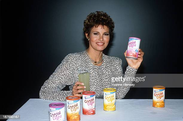 Raquel Welch is photographed endorsing Crystal Light drink mixes March 27 1987 in New York City