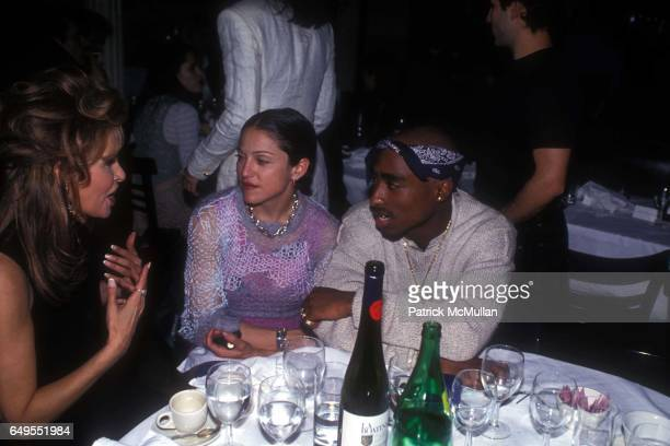 Raquel Welch, Madonna and Tupac Shakur at the Interview Magazine party in March 1, 1994 in New York City.