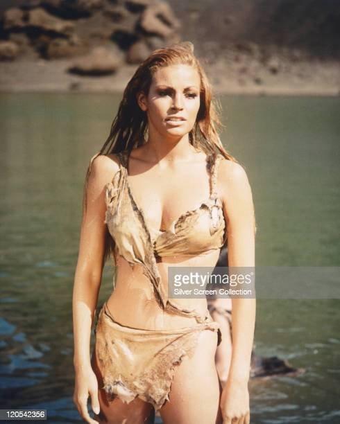 Raquel Welch, US actress, wearing an animal hide bikini in a publicity portrait issued for the film, 'One Million Years BC', 1966. The action...