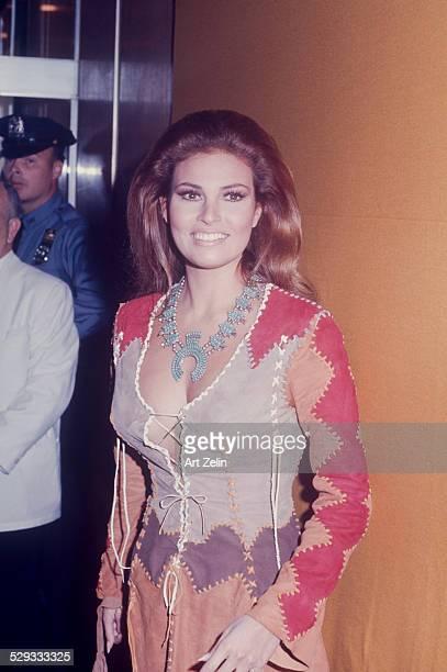 Raquel Welch wearing a patchwork dress circa 1970 New York