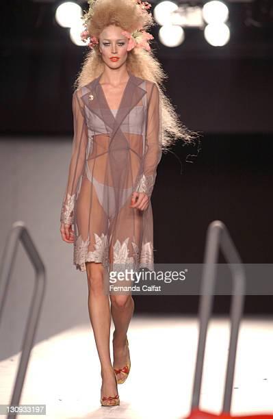 Raquel Zimmermann wearing Sommer during 2003 São Paulo Fashion Week Sommer at Bienal Ibirapuera in São Paulo São Paulo Brazil