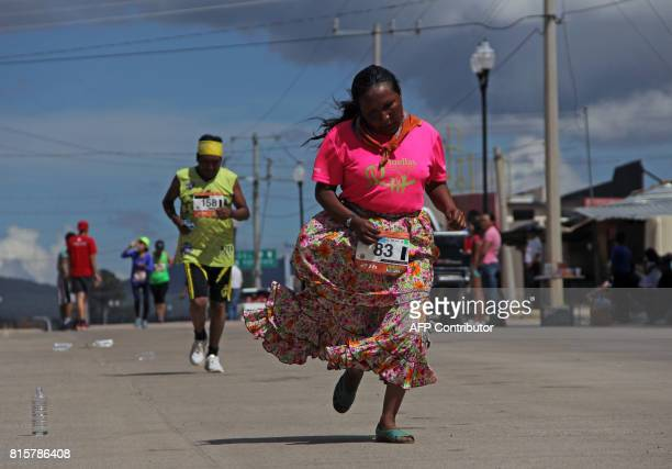 Raramuris indigenous people take part in the half marathon of the Ultra maraton de los Canones 2017 in Guachochi Chihuahua state Mexico on July 16...