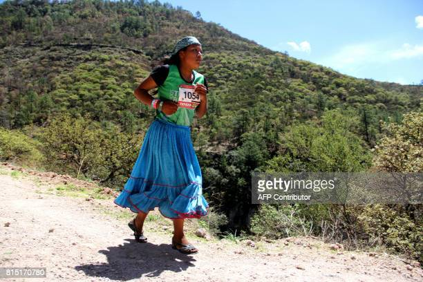Raramuris indigenous woman takes part in the Ultra maraton de los Canones 2017 at La Sinforosa Canyon in Guachochi Chihuahua state Mexico on July 15...