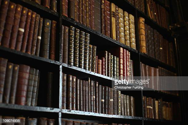 rare and antique books line the shelves at Chetham Library which was founded in 1653 making it the oldest public libary in the English speaking world...
