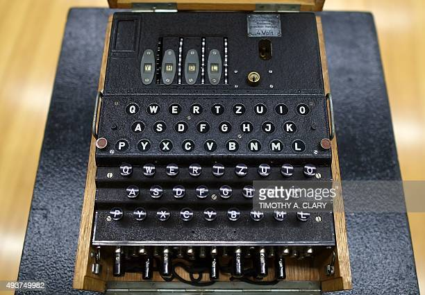A rare and fullyfunctional German Naval fourrotor Enigma enciphering machine is viewed at Bonhams New York on October 22 2015 The machine that...