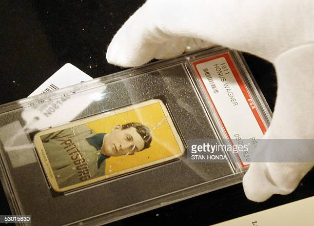 A rare baseball card of Honus Wagner of the Pittsburgh Pirates considered to be the best all around player in baseball history is displayed at a...